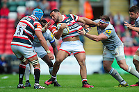 Ellis Genge of Leicester Tigers takes on the Bath Rugby defence. Aviva Premiership match, between Leicester Tigers and Bath Rugby on September 25, 2016 at Welford Road in Leicester, England. Photo by: Patrick Khachfe / Onside Images