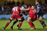 Semesa Rokoduguni of Bath Rugby takes on the Sale Sharks defence Gallagher Premiership match, between Bath Rugby and Sale Sharks on December 2, 2018 at the Recreation Ground in Bath, England. Photo by: Patrick Khachfe / Onside Images