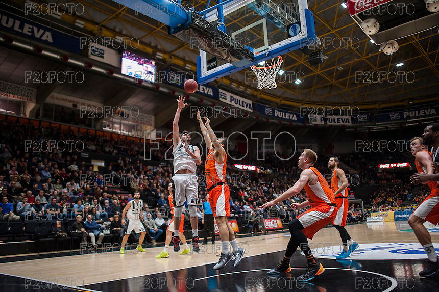 VALENCIA, SPAIN - JANUARY 6: Vangelis Margaritis and Fernando San Emeterio during EUROCUP match between Valencia Basket and PAOK Thessaloniki at Fonteta Stadium on January 6, 2015 in Valencia, Spain
