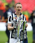 Millwall's Shane Ferguson celebrates with the trophy during the League One Play-Off Final match at Wembley Stadium, London. Picture date: May 20th, 2017. Pic credit should read: David Klein/Sportimage