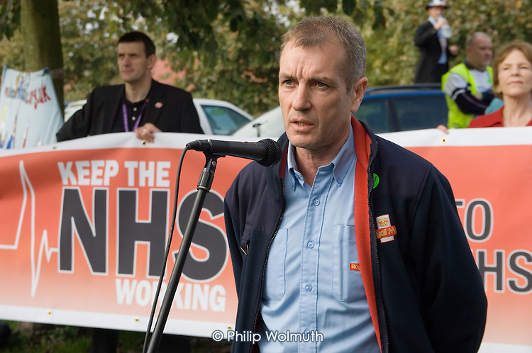Postman Kevin Duffy, a member of Oxford branch of the UCW, addresses a rally against cuts in the NHS and privitisation of the health service, Oxford