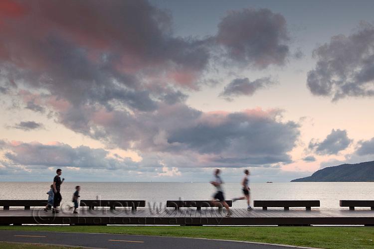 The Esplanade boardwalk at dusk.  Cairns, Queensland, Australia