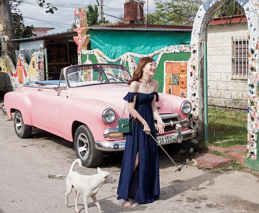 "A tourist making selfie videos, ""Fusterlandia,"" Jaimanitas, La Habana"