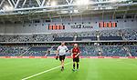 Stockholm 2014-07-31 Fotboll Europa League IF Brommapojkarna - Torino FC :  <br /> Brommapojkarnas assisterande tr&auml;nare Patrik Winqvist och Kristinn J&oacute;nsson Jonsson ser nedst&auml;mda ut n&auml;r de g&aring;r av planen efter f&ouml;rlusten mot Torino<br /> (Foto: Kenta J&ouml;nsson) Nyckelord:  BP Brommapojkarna IFB Tele2 Arena Europa League Torino FC TFC Italien Itay inomhus interi&ouml;r interior depp besviken besvikelse sorg ledsen deppig nedst&auml;md uppgiven sad disappointment disappointed dejected