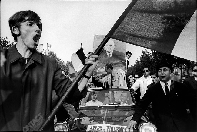 The 1968 May Events, pro-Gaullist mass rally, avenue des Champs Elysees, Paris, France, May 30, 1968