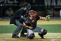 Davidson Wildcats catcher Zach Nussbaum (36) reaches for a pitch as home plate umpire Thomas Newsom looks on during the game against the Wake Forest Demon Deacons at David F. Couch Ballpark on February 28, 2017 in Winston-Salem, North Carolina.  The Demon Deacons defeated the Wildcats 13-5.  (Brian Westerholt/Four Seam Images)