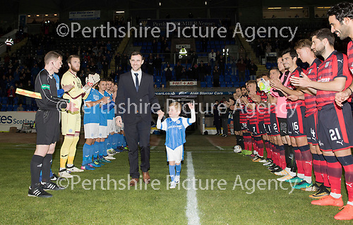 Dave Mackay Testimonial: St Johnstone v Dundee&hellip;06.10.17&hellip;  McDiarmid Park&hellip; <br />Dave Mackay and his son Calum walk onto the pitch through a Guard of Honour by the two teams<br />Picture by Graeme Hart. <br />Copyright Perthshire Picture Agency<br />Tel: 01738 623350  Mobile: 07990 594431