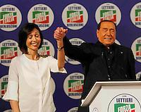 Manifestazione elettorale di Forza Italia a sostegno del candidato sindaco del centrodestra nelle prossime elezioni amministrative<br /> Mara Carfagna e Silvio Berlusconi