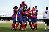 Angelo Balanta of Dagenham and Redbridge scores the first goal for his team and celebrates with his team mates during Dagenham & Redbridge vs Bromley, Vanarama National League Football at the Chigwell Construction Stadium on 9th March 2019
