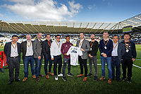 Wayne Routledge with sponsors during the Sky Bet Championship match between Swansea City and Queens Park Rangers at the Liberty Stadium, Swansea, Wales, UK. Saturday 29 September 2018