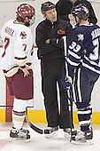 Peter Harrold, Scott Hansen, Brian Yandle - The Boston College Eagles and University of New Hampshire earned a 3-3 tie on Thursday, March 2, 2006, on Senior Night at Kelley Rink at Conte Forum in Chestnut Hill, MA.  Boston College honored its three seniors, captain Peter Harrold and alternate captains Chris Collins and Stephen Gionta, before the game.