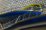 Close up view of the exterior of Selfridges department store in Birmingham showing aliminum cladding and blue coloured balconies
