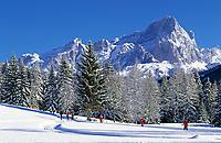 Oesterreich, Salzburger Land, Winterlandschaft und Langlaufloipe bei Filzmoos am Dachsteingebirge | Austria, Salzburger Land, Winter Scenery and cross-country ski run near Filzmoos at Dachstein Mountains