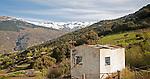 Snow capped Sierra Nevada Mountains, High Alpujarras, near Capileira, Granada Province, Spain