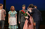 Derek Klena, Ephie Aardema, Luke Marinkovich, Kelli O'Hara and Jason Robert Brown during the Pre-Opening Night Curtain Call for 'The Bridges of Madison County' with special guest Author Robert James Waller at The Gerald Schoenfeld Theatre on February 19, 2014 in New York City.