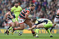 Ellis Genge of Leicester Tigers takes on the Sale Sharks defence. Aviva Premiership match, between Leicester Tigers and Sale Sharks on April 29, 2017 at Welford Road in Leicester, England. Photo by: Patrick Khachfe / JMP