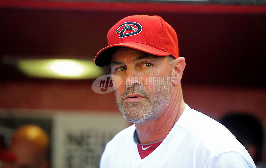 Apr. 6, 2012; Phoenix, AZ, USA; Arizona Diamondbacks manager Kirk Gibson prior to the game against the San Francisco Giants during opening day at Chase Field.  Mandatory Credit: Mark J. Rebilas-