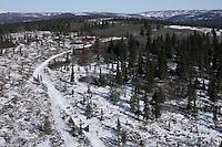 Monday March 12, 2007   ----   Robert Sorlie runs up the Blueberry Hills between Unalakleet and Shaktoolik on Monday afternoon.
