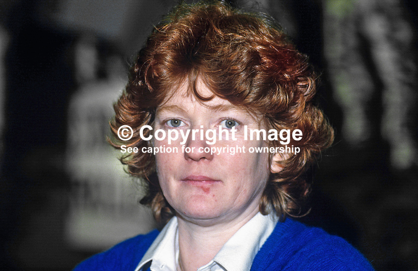 Rita O'Hare, prominent member, activist,  Provisonal Sinn Fein, originally from Belfast, now based in Dublin. 19851102ROH.<br />