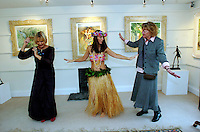 Dancing the Hula . . . from the South Seas to Dingle <br /> Poppy Melia dances the South Seas Hula for Pauline Bewick and Susan Callery at the official opening of  her mother's (Pauline Bewick) South Seas painting exhibition at the Greenlane Gallery in Dingle at the weekend. <br /> Poppy and her sister, Holly, both artists, accompanied their mother to the South Seas in 1989 and frequently danced the Hula on the islands for tourists. This exhibition is the first time Bewick&rsquo;s South Seas collection has been shown in Ireland since 1992 and will feature work by the artist from this period that has never been seen in public before. The exhibition will run until end of January 2005<br /> Picture by Don MacMonagle