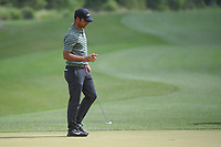 Shubhankar Sharma (IND) reacts after sinking his putt on 11 during round 1 of the Houston Open, Golf Club of Houston, Houston, Texas. 3/29/2018.<br /> Picture: Golffile | Ken Murray<br /> <br /> <br /> All photo usage must carry mandatory copyright credit (© Golffile | Ken Murray)