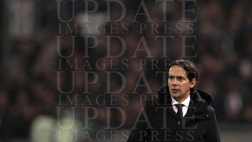 Football, Serie A: S.S. Lazio - Juventus, Olympic stadium, Rome, January 27, 2019. <br /> Lazio's coach Simone Inzaghi looks on during the Italian Serie A football match between S.S. Lazio and Juventus at Rome's Olympic stadium, Rome on January 27, 2019.<br /> UPDATE IMAGES PRESS/Isabella Bonotto