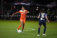Kansas City, MO - Saturday May 07, 2016: Houston Dash defender Poliana Barbosa (2) against FC Kansas City midfielder Erika Tymrak (15) during a regular season National Women's Soccer League (NWSL) match at Swope Soccer Village. Houston won 2-1.
