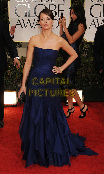 Berenice Bejo (wearing Gucci).Arrivals at the 69th Annual Golden Globe Awards at The Beverly Hilton Hotel, Beverly Hills, California, USA..January 15th, 2012.globes full length cobalt blue gown dress strapless hand on hip.CAP/GDG.©GDG/Capital Pictures