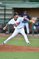 Elizabethton Twins starting pitcher Nick Brown (22) delivers a pitch during game one of the Appalachian League Championship Series against the Pulaski Yankees at Joe O'Brien Field on September 7, 2017 in Elizabethton, Tennessee. The Twins defeated the Yankees 12-1. (Tony Farlow/Four Seam Images)