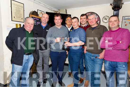 Cráineen's Bar Cahersiveen won the PKO Oyster Farm South Kerry Four A-side darts Tournament Final in the Anchor Bar on Saturday night after defeating the Shebeen Bar 6-1, pictured here l-r; Tony Horgan(Sec/Treasurer), Joe O'Shea(Chairman), Richard Quigley, Tommy Lapsley, Patrick O'Donoghue(PKO), Mark Quigley, Martin Kelly & Paudie Donovan.