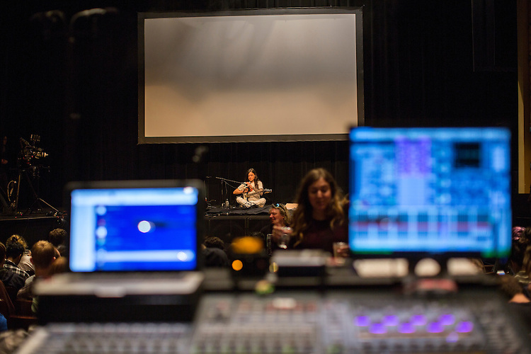 Durham, North Carolina - Friday May 20, 2016 -Grouper sets up for her performance in Fletcher Hall in the Carolina Theatre Friday night at Moogfest in Durham.