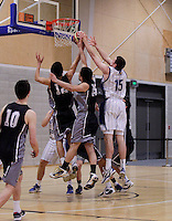 Action from the Wellington College Boys Basketball Premier Final between Hutt Valley High School and St Pats Wellington held at Te Rauparaha Arena, Porirua, New Zealand on 30 August 2012. Photo: john.mathews@xtra.co.nz