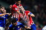 Diego Roberto Godin Leal (L) and Rodrigo Cascante (C) of Atletico de Madrid fights for the ball with Athletic de Bilbao players during the La Liga 2018-19 match between Atletico de Madrid and Athletic de Bilbao at Wanda Metropolitano, on November 10 2018 in Madrid, Spain. Photo by Diego Gouto / Power Sport Images