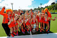 The Midlands team celebrates winning the 2017 National Hockey League Women's final between Bayleys Midlands and Mark Cromie Holden Northland at National Hockey Stadium in Wellington, New Zealand on Sunday, 24 September 2017. Photo: Dave Lintott / lintottphoto.co.nz