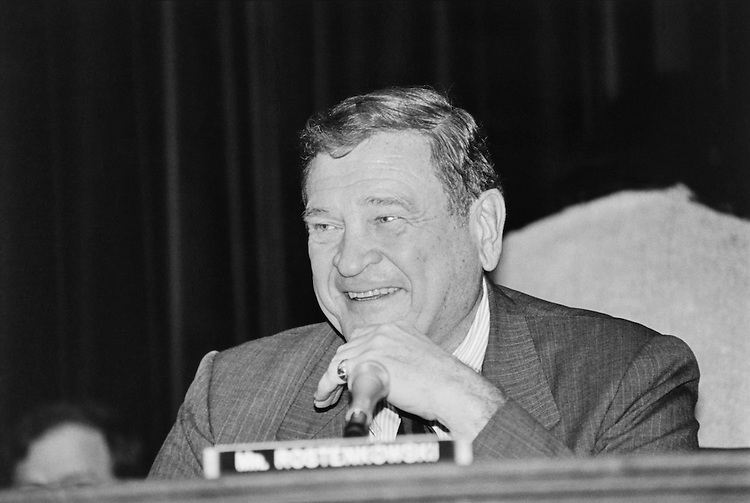 "Rep. Daniel David ""Dan"" Rostenkowski, D-Ill., Chairman of the Ways and Means Committee before starting the budget reconciliation meeting in the Ways and Means Committee room. 1993 (Photo by Maureen Keating/CQ Roll Call)"