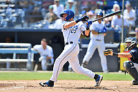 Asheville Tourists Willie MacIver (23) swings at a pitch during a game against the Charleston RiverDogs at McCormick Field on August 18, 2019 in Asheville, North Carolina. The Tourists defeated the RiverDogs 6-5. (Tony Farlow/Four Seam Images)