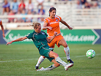 Saint Louis Athletica midfielder Amanda Cinalli (15) Sky Blue FC midfielder Yael Averbuch (10) during a WPS match at Anheuser Busch Soccer Park, in St. Louis, MO, July 22 2009. Athletica won the match 1-0.