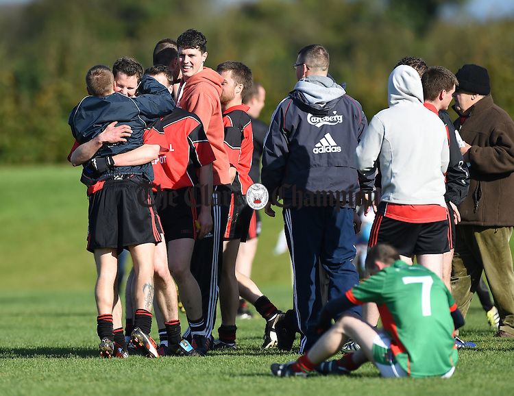 Meelick celebrate o the final whistle following their win over Kilmurry Ibrickane in their Junior A  county final at Gurteen. Photograph by John Kelly.