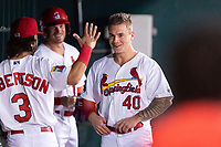 Springfield Cardinals Kramer Robertson (3) congratulates Tyler O'Neill (40) after hitting a home run during a rehab assignment in a Texas League game against the Amarillo Sod Poodles on April 25, 2019 at Hammons Field in Springfield, Missouri. Springfield defeated Amarillo 8-0. (Zachary Lucy/Four Seam Images)