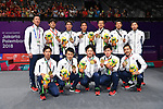 Japan team group (JPN), <br /> AUGUST 22, 2018 - Badminton : Men's Team Victory ceremony at Gelora Bung Karno Istora <br /> during the 2018 Jakarta Palembang Asian Games <br /> in Jakarta, Indonesia. <br /> (Photo by MATSUO.K/AFLO SPORT)