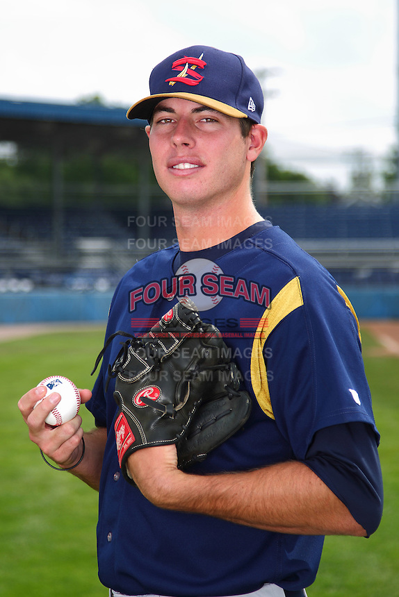 State College Spikes pitcher Mitch Fienemann #27 poses for a photo before a game against the Batavia Muckdogs at Dwyer Stadium on July 7, 2011 in Batavia, New York.  Batavia defeated State College 16-3.  (Mike Janes/Four Seam Images)