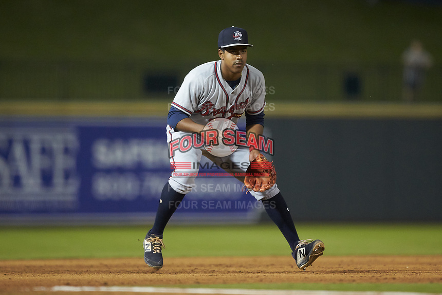 Rome Braves third baseman Braulio Vasquez (20) on defense against the Columbia Fireflies at Segra Park on May 13, 2019 in Columbia, South Carolina. The Fireflies defeated the Braves 6-1 in game two of a doubleheader. (Brian Westerholt/Four Seam Images)