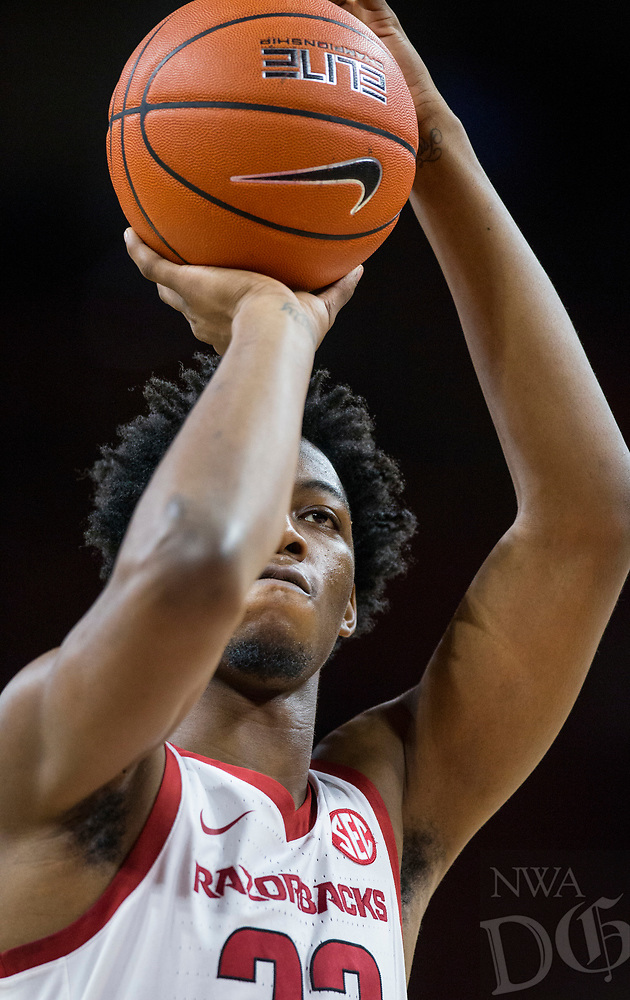 NWA Democrat-Gazette/BEN GOFF @NWABENGOFF <br /> Gabe Osabuohien of Arkansas shoots a free throw in the first half vs Tusculum Friday, Oct. 26, 2018, during an exhibition game in Bud Walton Arena in Fayetteville.