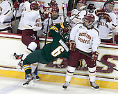 Travis Jeke (BC - 8), Colin Markison (UVM - 6), Destry Straight (BC - 17) - The Boston College Eagles defeated the University of Vermont Catamounts 4-1 on Friday, February 1, 2013, at Kelley Rink in Conte Forum in Chestnut Hill, Massachusetts.