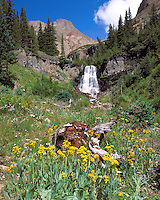 Kilpacker Falls high in Kilpacker Basin below El Diente Peak, near Telluride, Colorado