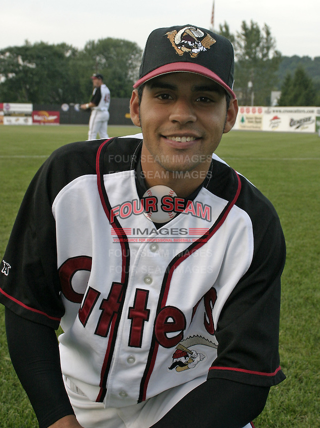 September 3, 2004:  John Santiago of the Williamsport Crosscutters during a game at Bowman Field in Williamsport, PA.  Williamsport is the Short Season Single-A NY-Penn League affiliate of the Pittsburg Pirates.  Photo By Mike Janes/Four Seam Images