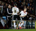 Louis Reed of Sheffield Utd replaces Chris Basham of Sheffield Utd - English League One - Scunthorpe Utd vs Sheffield Utd - Glandford Park Stadium - Scunthorpe - England - 19th December 2015 - Pic Simon Bellis/Sportimage