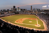 CHICAGO - April  16:  A general view of the ballpark's architecture at sunset at Wrigley Field in Chicago, Illinois on April 16, 2008.  (Photo by Chris Bernacchi/MLB Photos via Getty Images)