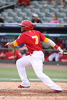 Engel Beltre of Team Spain at bat during a game against Team Israel during the World Baseball Classic preliminary round at Roger Dean Stadium on September 21, 2012 in Jupiter, Florida. Team Israel defeated Team Spain 4-2. (Stacy Jo Grant/Four Seam Images)