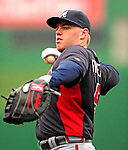 31 March 2011: Atlanta Braves first baseman Freddie Freeman warms up prior to the Opening Day festivities and game against the Washington Nationals at Nationals Park in Washington, District of Columbia. The Braves shut out the Nationals 2-0 to open the 2011 Major League Baseball season. Mandatory Credit: Ed Wolfstein Photo